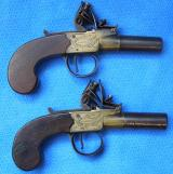Matched pair of pocket pistols by H Nock circa 1790.